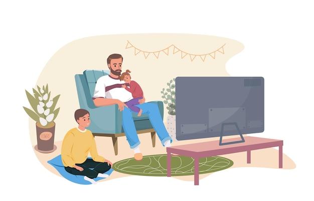 집에서 아이들과 시간을 보내는 아버지 행복한 가족이 tv 만화 벡터 삽화를 보고 있습니다.