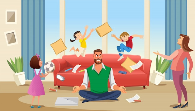 Father in a state of stress with playing children