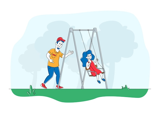 Отец качает ребенка на качелях в парке или на детской площадке
