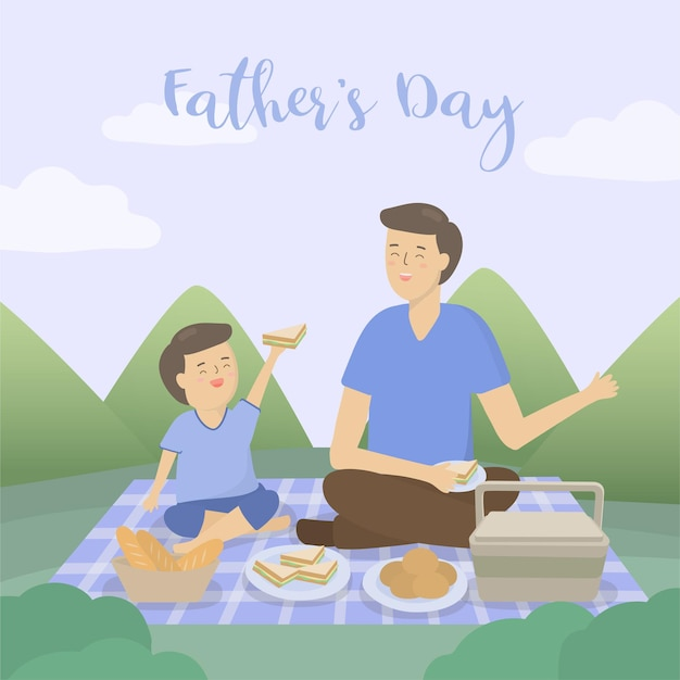 아버지는 아버지의 날 캠핑 여행에 아들을 데려가 이야기하고 파티를하고 휴가를 떠납니다.