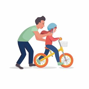父は娘に自転車に乗るように教えます。ベクトルフラットデザインイラスト