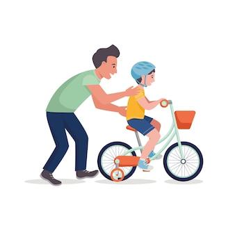 父は息子に自転車に乗るように教えます。ベクトルフラットイラスト