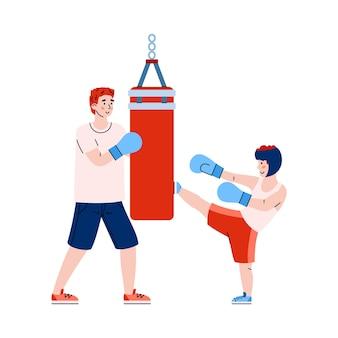 Father teaching child box fight kiks illustration