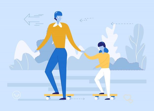 Father teaching daughter riding skateboard cartoon