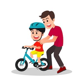 息子に自転車の乗り方を教える父