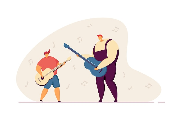 Father teaching son to play acoustic guitar. man and boy playing musical instruments together flat vector illustration. parenting, music, education concept for banner, website design or landing page