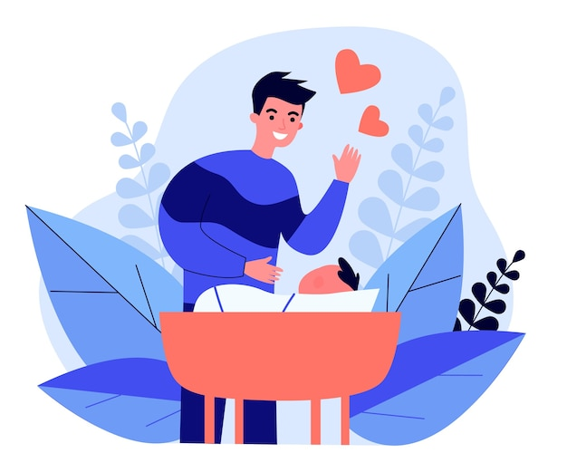 Father telling fairy tale to his baby in flat design