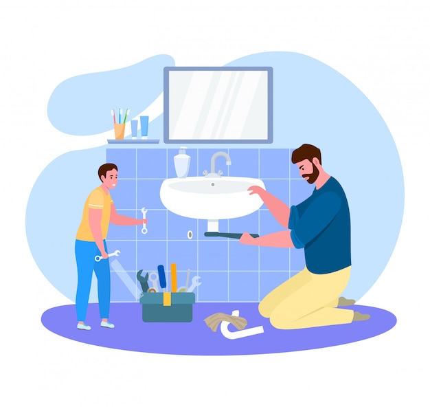 Father time with son  illustration, cartoon  dad handyman sitting on floor, fixing bathroom equipment  on white