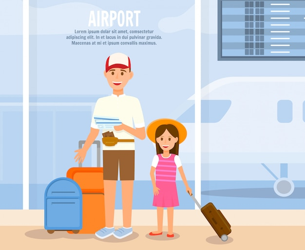 Father travel with daughter cartoon characters.