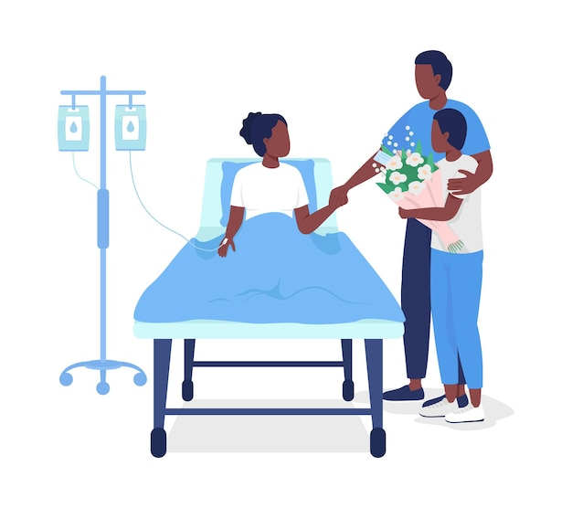 아버지는 병원 세미 플랫 컬러 벡터 문자에서 딸을 방문합니다. 흰색에 전신 사람들입니다. 그래픽 디자인 및 애니메이션을 위해 병원에서 격리된 현대 만화 스타일의 방문자