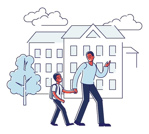 父は息子を学校に歩いています。男子生徒が校舎を引き渡すアフリカ系アメリカ人の男