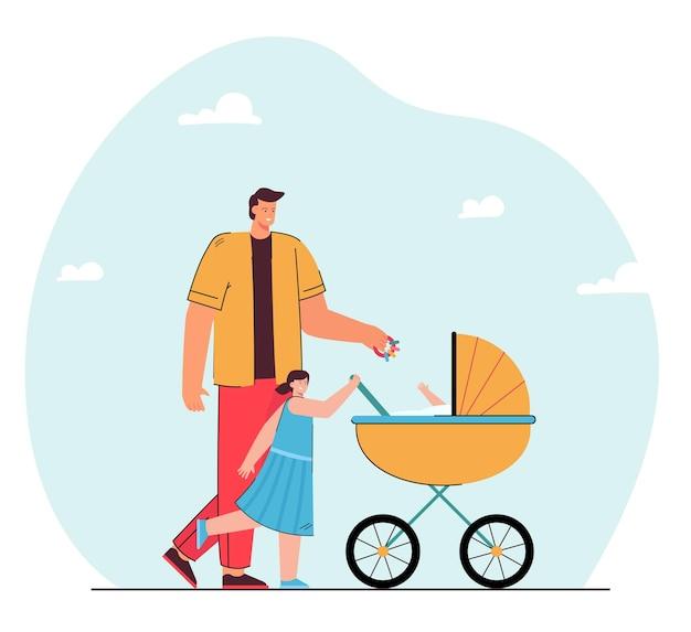 子供たちと一緒に歩いている父。フラットイラスト