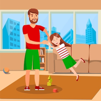 Father whirling daughter flat vector illustration
