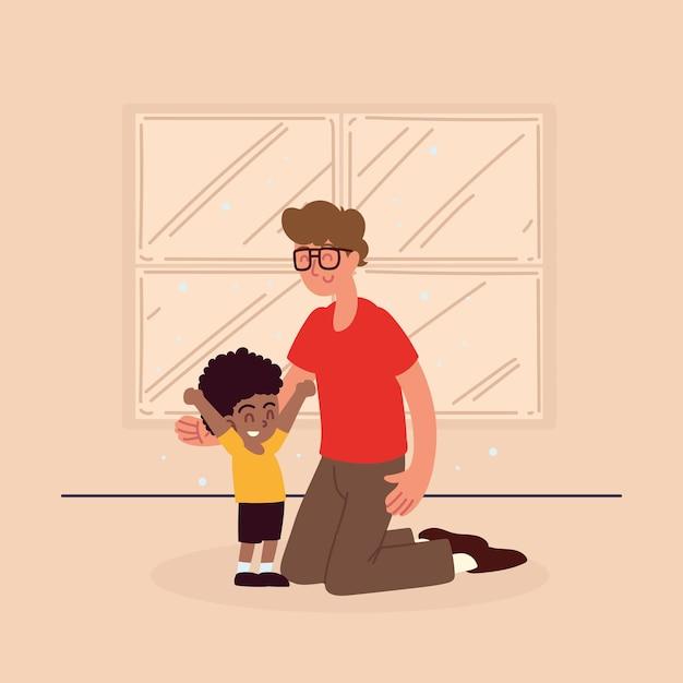 Отец с приемным мальчиком