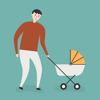 Father with baby pram