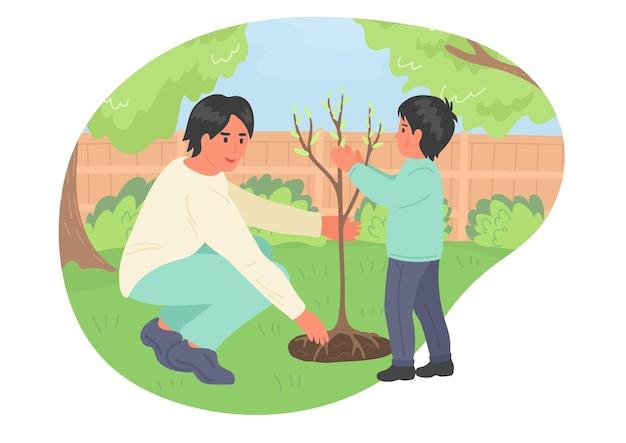 나무 심기 소년과 아버지입니다. 봄. 정원에서 일하는 행복 한 가족.