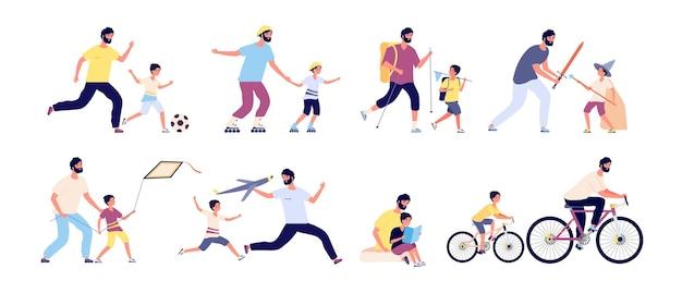 아이들과 아버지. 행복한 아버지, 아빠와 아이들이 함께 시간을 보내고 축구, 하이킹, 일광욕, 낚시 벡터 세트. 그림 아버지와 죄는 자전거를 타고 놀이