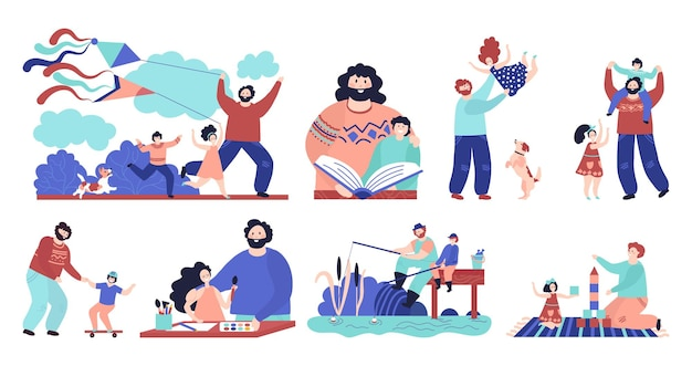 Father with children. man play child, dad and son fishing reading hugging and sporting. happy fatherhood, outdoor kid recreation vector set. illustration fatherhood, family together past time