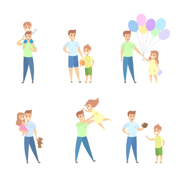 Father with children set. happy playing together.