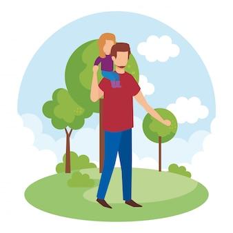 Отец с дочерью в парке