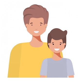 Father with his son smiling avatar character