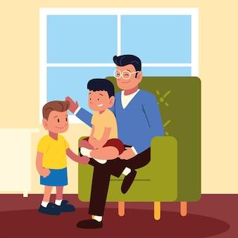 Отец с детьми в доме