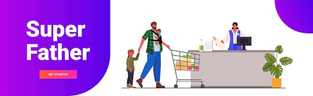 Father with little children buying groceries in supermarket fatherhood parenting shopping concept horizontal