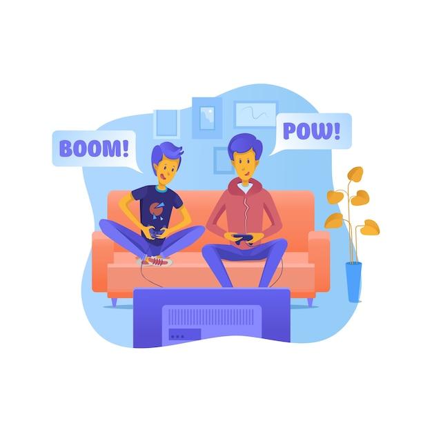 ビデオゲームのイラストを遊んでいる息子と父。お父さんと子供が一緒に時間を過ごします。オンラインバトルをしている友達。ジョイスティックのクリップアートを持っている兄弟。余暇、娯楽。兄弟のキャラクター