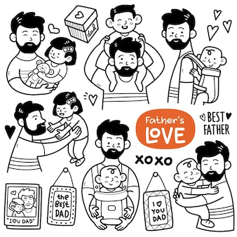 Fatherhood activities such as holding a baby playing with daughter piggy back ride etc