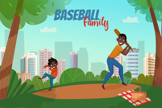 Fatherhood baseball illustration