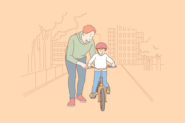 父権、サイクリング、子供時代、トレーニングのコンセプト。