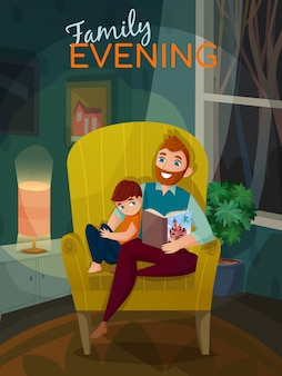 Fatherhood family evening illustration