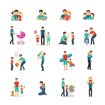 Fatherhood flat icons set with father playing with children
