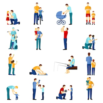 Fatherhood icons set