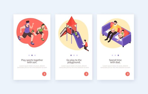 Fatherhood isolated vertical banners with compositions showing how children and dad spend time together