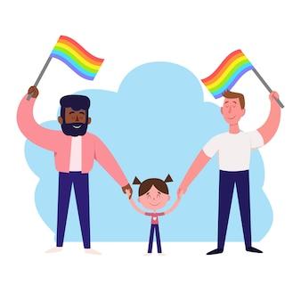 Отцы и ребенок празднуют день гордости