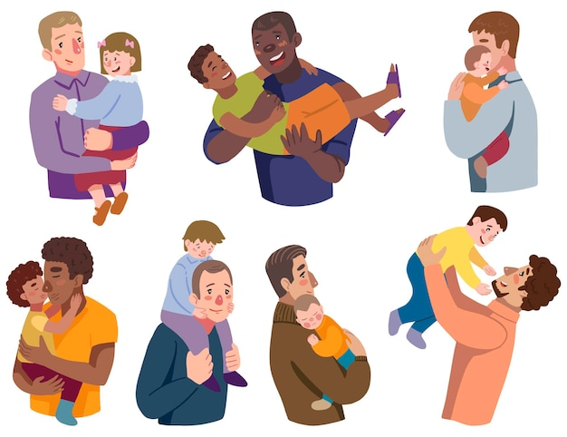 Fathers and childs set. collection of hand drawn vector illustrations for father's day. colorful cartoon cliparts isolated on white.