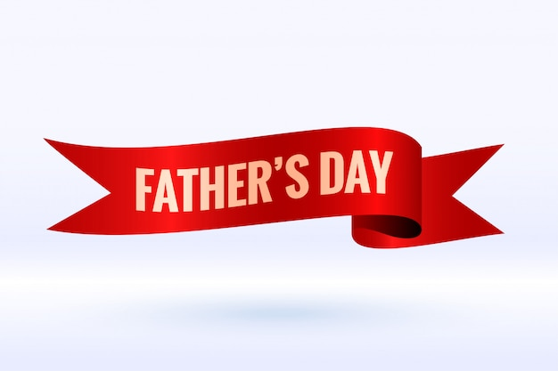 Fathers day background in 3d ribbon style design