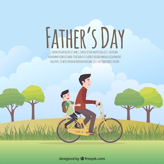 父親の日の背景には、パパとバイクに乗って