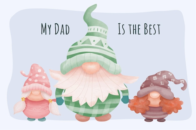 Fathers day background with dad and daughter gnomes