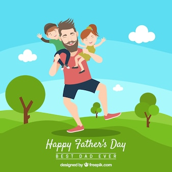 Fathers day background with dad and kids in nature