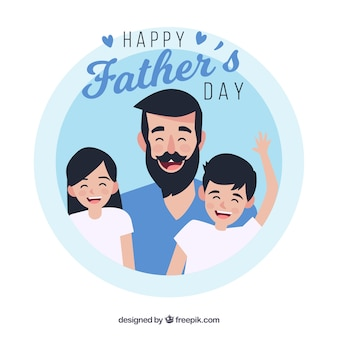 Fathers day background with happy family
