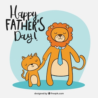 Fathers day background with lions