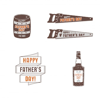 Fathers day badges, labels collection. holiday stickers for t shirts and other identity. retro color design. vintage father day insignias.