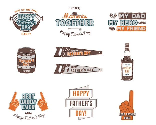 Fathers day badges, labels collection. holiday stickers for t shirts and other identity. retro color design. vintage logotypes and insignias. vector isolated on white background.