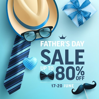 Fathers day banner with hat necktie and gift box. greetings and presents for fathers day