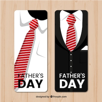 Fathers day banners with suit