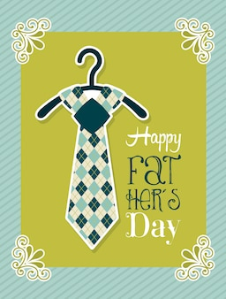 Fathers day card over green background vector illustration