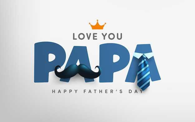 Fathers day card mustache and tie. greetings and presents for fathers day