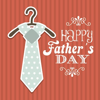 Fathers day card over red background vector illustration